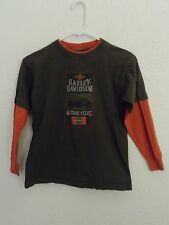 Harley Davidson Motorcycles Shirt Size 14/16 Youth Long Sleeve Brown Orange CO