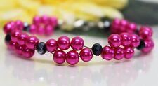 Glass Jewels Silber XL Armband Perlen Pink Sommer Zweireihig Länge 21,5 cm#GA039