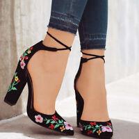 Sandalias de tacón Bombas de bordado para mujer Zapatos de tacón alto para mujer