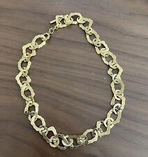 Givenchy Signed Vintage Necklace Goldtone Hammered Link