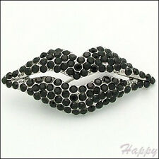 Love Kiss Lips Black Red Brown Crystal Rhinestone Pin Brooch Couture Jewelry New