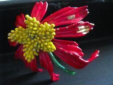 ART RED POINSETTIA WITH YELLOW CENTER AND GREEN STEM CHRISTMAS BROOCH