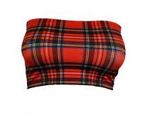 Boob Tube Tartan TOP Red Black Stretch Strapless BANDEAU Crop Vest Bra Club B152