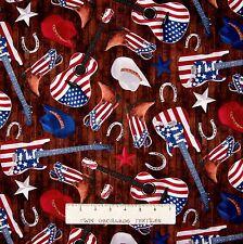 Patriotic Fabric - Cowboy Boots Hats Guitar Brown Wood - Timeless Treasures YARD