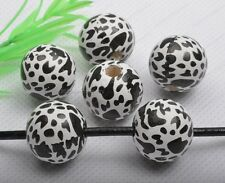 10Pcs 20MM Leopard stripe white wood round loose beads