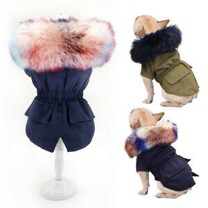 Fur Collar Small Dog Coats for Winter Pet Clothes Jacket Yorkie French Bulldog