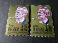FRANCE 1990, VARIETE' COULEUR ROUGE, timbre 2654, BRASSENS, neuf**, MNH