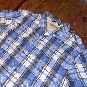 Tommy Bahama Island Modern Fit 100% Linen Blue Plaid Camp Short Sl Mens XL Shirt