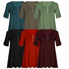 Short Sleeve Tunic Tops & Blouses for Women with Buttons