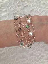 Knitted Wire Bracelet Pink Bracelet Copper Bracelet Handmade