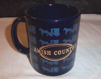 AMISH COUNTRY Mug Horse Drawn Buggy Blue Metallic Gold Unique Design Coffee Mug