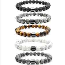 Armband Männer Herren Mangetisch Hämatit Perlen Lavastein Marmor Universal Mode