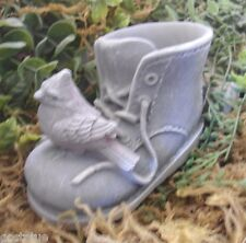 latex only cardinal / blue jay bird on boot plaster mould  concrete mold