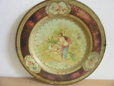 Antique Vienna Art plate Metal Lithographed with woman and cherubs