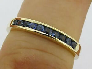 R165 Genuine 9K or 18K Gold Natural Sapphire Ring Eternity Channel Wedding Band