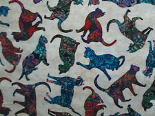 MOD CATS ART DETAILED CAT BRIGHT COLORS CREAM COTTON FABRIC BTHY