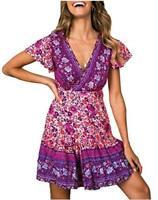 ZESICA Women's Summer Wrap V Neck Bohemian Floral Print, Purple, Size Medium