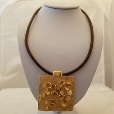 Petals motif square design pendant on a brown leather cord short necklace