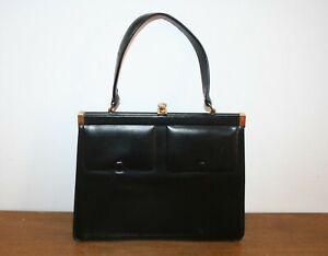 Vintage Tasche, Handtasche, Leder schwarz, Original 50er Jahre