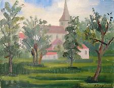 Arne Siegfried 1893-1985 Schaffhausen / Gemälde Kirche mit Kirchhof / signiert