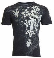 ARCHAIC by AFFLICTION Mens T-Shirt ALKALINE Cross BLACK Tattoo Biker MMA UFC $40
