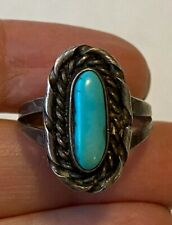 Vintage Navajo Sterling Silver Rope Detail Turquoise Ring Size 8