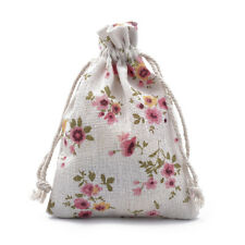 50 Cotton Packing Pouch Drawstring Bags Printed Flower Retail Gift Wedding Party