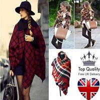 Large Cape Style Scarf Scarves Thick Tartan Wrap Plaid Wool Pashmina Shawl UK