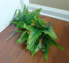 2 Pcs Blooming Boston Grass Bushes Artificial Plants Silk Fern Leaf