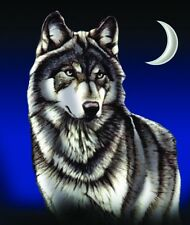 Wolf with Crescent Moon New Korean Style cozy Queen size Blanket