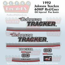 1992 Johnson 60 HP Red Grey 3 Cyl Outboard Repro 13Pc Pro Series Marine Decals