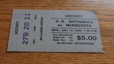 1983 Ticket Stub - Minnesota Gophers USA National Team Hockey - January 10