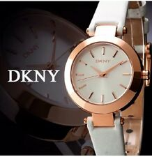 Women's DKNY White Leather Rose Gold Case Watch NY8835 With Fossil Gift Box