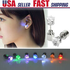 Fashion Crystal LED Flashing Light up Earring Dance Party Disco Glow Ear Studs