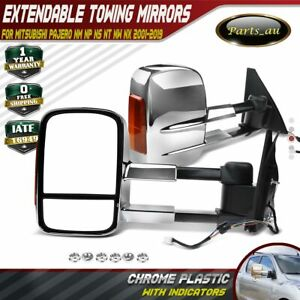 Chrome Extendable Towing Mirrors w/ Indicator for Mitsubishi Pajero 2001-2019