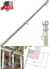 Stainless Steel Flag Pole Kit Garden Yard Truck Outdoor Us Flagpole Holder 6Ft W