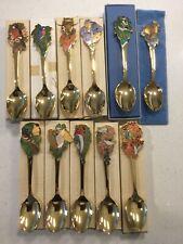 Rare Mint Hallmark Champleve Enamel Us Birds 11 Spoons Set 24 Kt Gold Vermeil