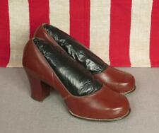 """Vintage 1950s Breezies Brown Leather Heels Pumps 8 1/2"""" Length Shoes New Nos"""