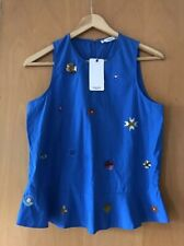 MANGO floral BLUE Top SIZE S 8 10 Beaded DETAIL BNWT
