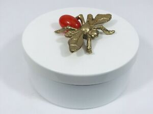 Gold & Orange Bee Flying Insect Round Metal Home Decor Decorative Box Opalhouse