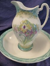 More details for art nouveau john maddock royal vitreous wash jug and bowl. lilac pattern