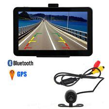 """7"""" 4GB/128MB Car GPS Mirror Navigation Bluetooth AV-IN RearView Backup Camera"""