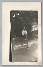 Bench-Sitting Boy RPPC Amsterdam NY Antique Photo Montgomery County 1911