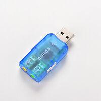 Blue USB 2.0 External Mic Speaker 3D 5.1 Channel Audio PC Sound Card Adapter FO