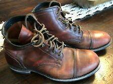 Frye Men's Leather Boot Cap Toe Cognac Red Brown 10.5