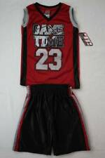 NEW Boys 2 piece Outfit Size 4 Mesh Tank Top Shirt Silky Shorts Set Red Sports