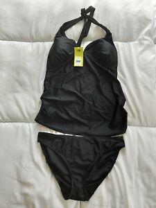 Bnwt Mothercare Maternity Halterneck Black Tankini Swimwear Size 14