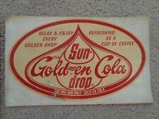 SUN-DROP GOLDEN GIRL COLA DECAL - VINTAGE - ORIGINAL COLLECTIBLE SODA 7X4.5 INCH
