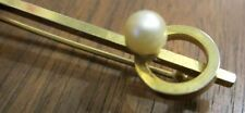 Antique Lapel Pin Circle Bar White Imitation Pearl Bead Brass Gold Clad No Marks