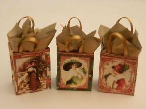 Dolls house : 1/12th Three handmade Christmas gift bags set 2 -By Fran